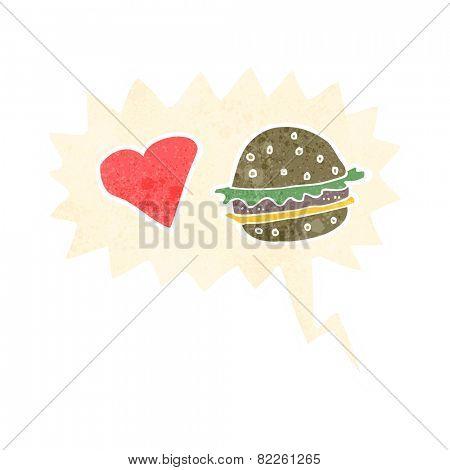 cartoon hamburger with speech bubble