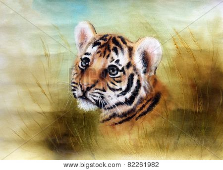 Adorable Baby Tiger Head Looking Out From A Green Grass Surroundings