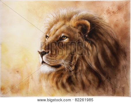 illustration Lion Head With A Majesticaly Peaceful Expression
