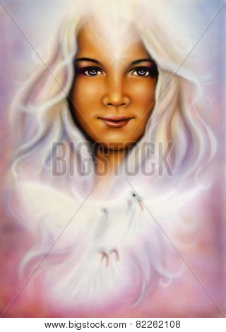 Beautiful Airbrush Painting Of A Young Girl's Angelic Face With Radiant White Hair And A Shining Dov
