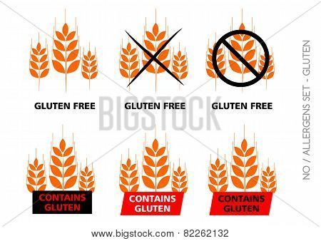 Orange Vector Gluten Free Signs Isolated On White Background