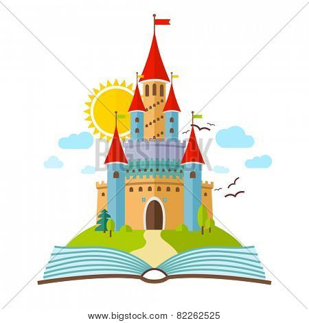 Fairy-tale Castle. Vector Flat Child Illustration. Imagination concept