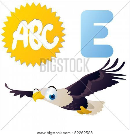 cute vector comic cartoon animals abc: E is for Eagle