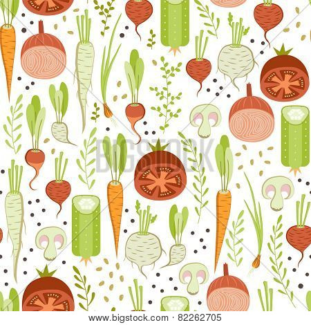 seamless pattern with healthy vegetable on white background