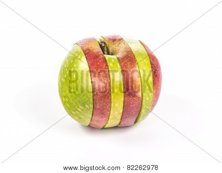 two sliced and mixed apples