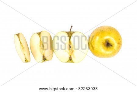 line of the one yellow apple, half and quarter