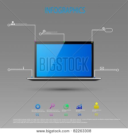 Infographic design with realistic 3d laptop computer with blue sky  on screen can be used f