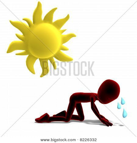 3d male icon toon character sweating in the sun