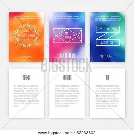 Hipster Geometric Typography. Set of Retro Style Flyer. Modern Poster Design with Star Burst, Ribbon and Blurred Background.