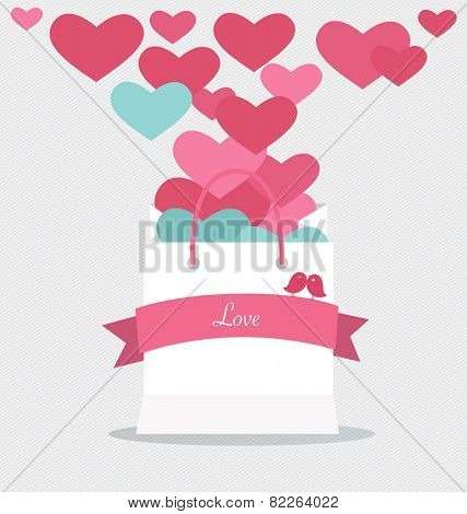 Happy valentines day. Valentines day gift bag with hearts. Vector Illustration.