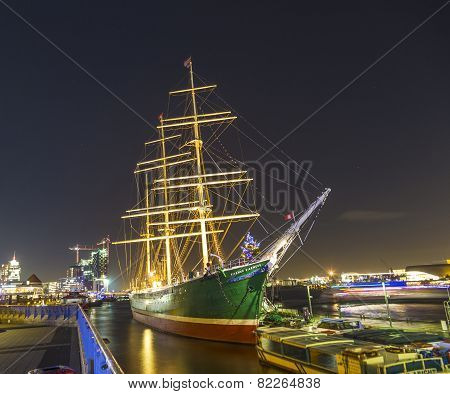Historic Sailor Rickmer Rickmers By Night