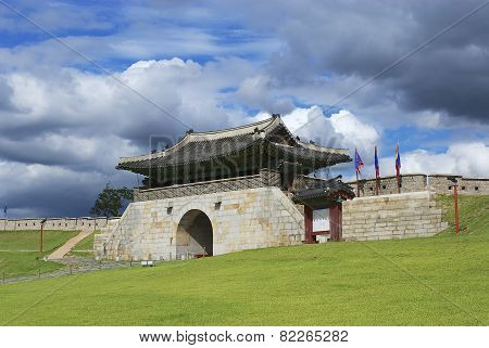 Hwaseong fortress (Brilliant Fortress) exterior in Suwon, South Korea.