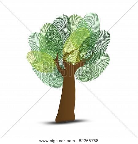 Go Green identity tree finger isolated on gray background