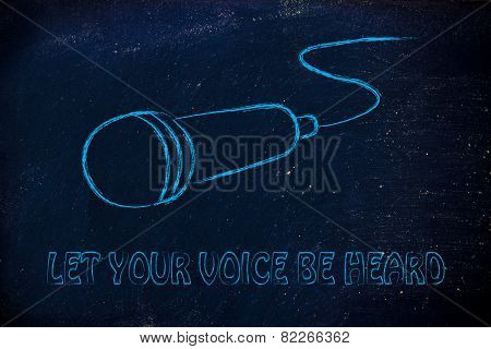 Microphone Illustration, Let Your Voice Be Heard, Share Your Opinion