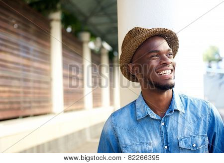 Carefree Young African American Man Laughing