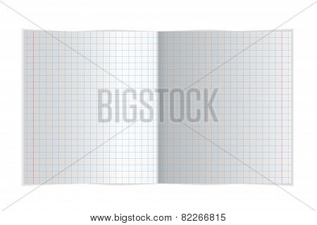 Exercise book for writing spread. Vector illustration