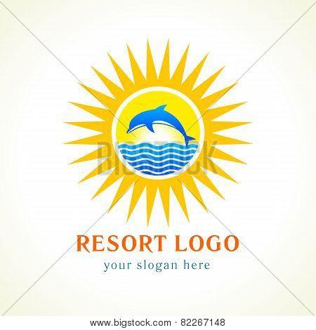 dolphin sea sun logo