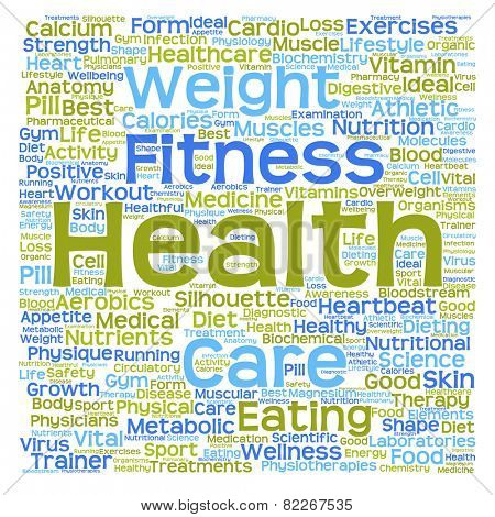 Concept or conceptual text word cloud tagcloud isolated on white background, metaphor for health, nutrition, diet, wellness, body, energy, medical, sport, heart, physique, medicine or science