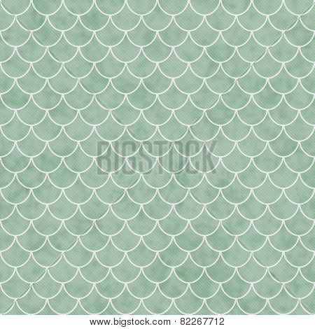 Green And White Shell Tiles Pattern Repeat Background