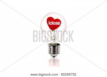 The Red Heart Inside Of The Light Bulb Isolated On White