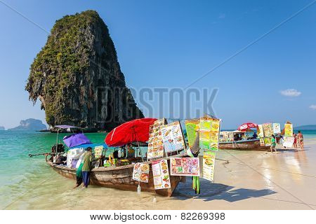Boat Food Stalls On Railay Beach.