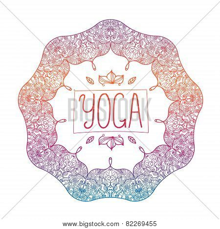 vector hand drawn ornamental colorful yoga badge