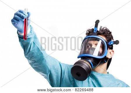 Scientist holding a sample of blood, isolated on white background