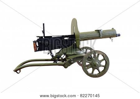 Machine gun, Maxim's system isolated under the white background