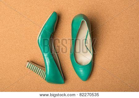 Green High Heels Shoes