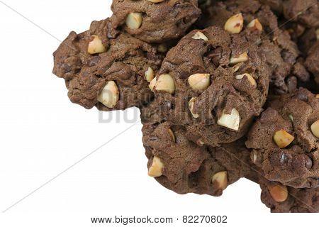 Macadamia Chocolate Cookies Isolated On White Background