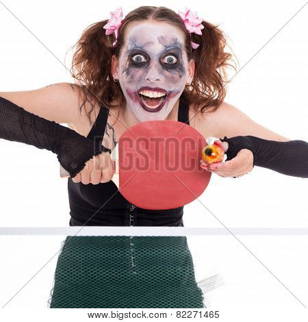 Scary Female Clown Is Playing Ping-pong