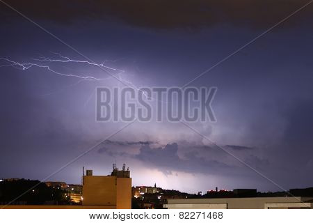 Night thunderstorm and lightning in Prague, Czech Republic.