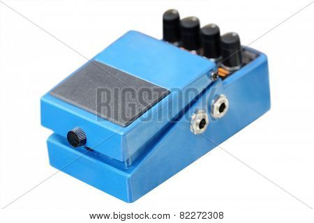 Pedal for electric guitar. Blue color