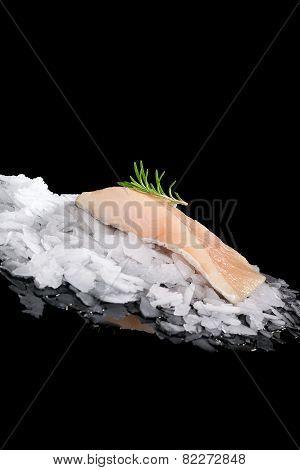 Fresh Fish On Ice Isolated.