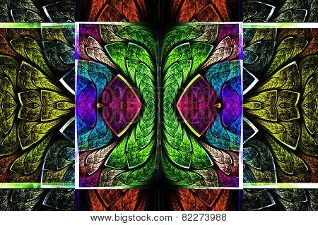 Multicolored Symmetrical Geometric Pattern In Stained Glass Style. On Black. Computer Generated Grap