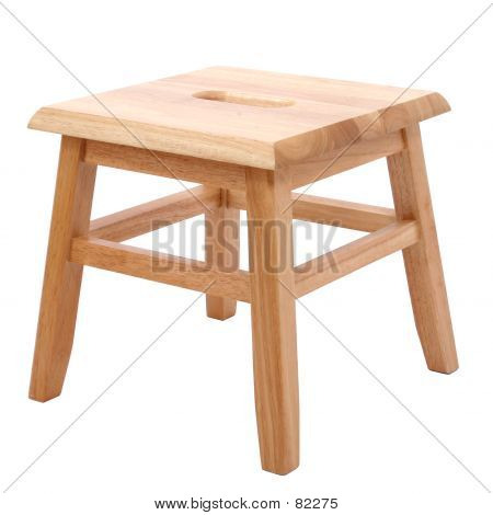 Wooden Stool Over White