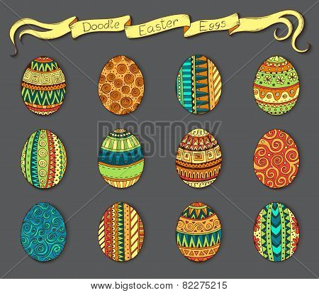 Ink hand-drawn doodle vector Happy Easter set with eggs. Doodle style decorated easter egg collectio