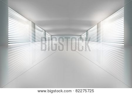 Interior, wide open space. Vector illustration.