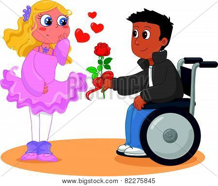 Pretty girl with boy on wheelchair