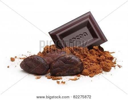 Dark chocolate bar, cacao beans and powder  isolated on white background