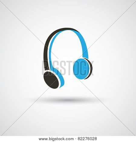 Headphones Icon Design - Black and Blue Icon Concept Illustration, Freely Editable Vector Format Included