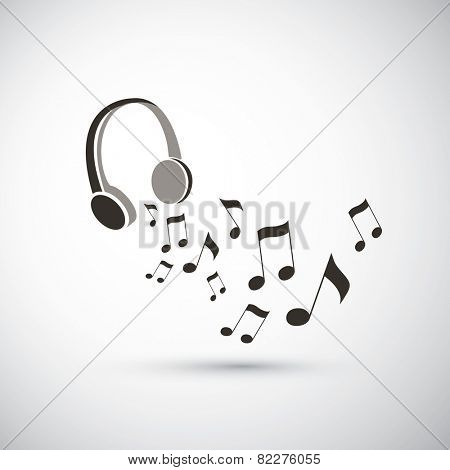 Musical Notes Flying from Headphones - Black and White Music Listening Concept Illustration, Freely Editable Vector Format Included