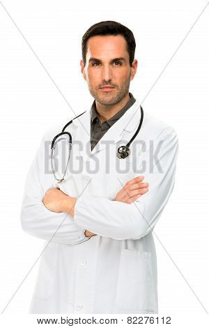 male doctor with crossed arms