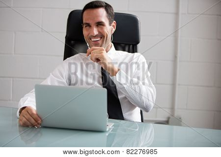 male businessman with laptop