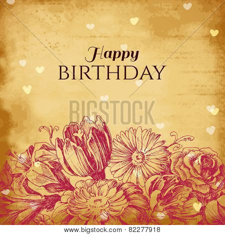 Vintage floral background, birthday card