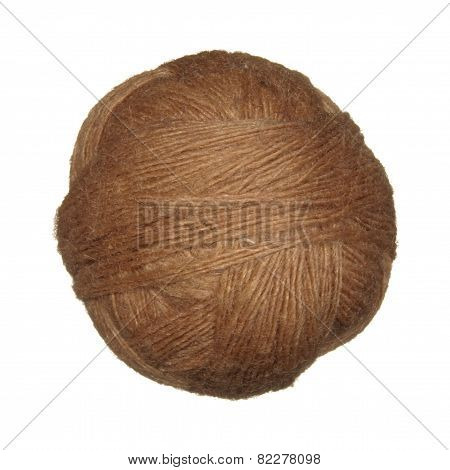 Skein Of Wool Yarn Brown Isolated On White Background.