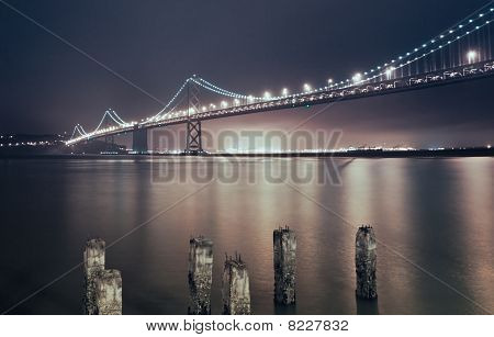 San Francisco, Oakland Bay Bridge At Night