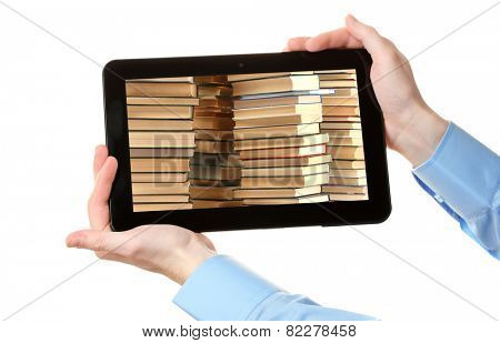 E-learning concept.  Digital library - books inside computer, isolated on white