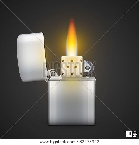 Lighter with fire