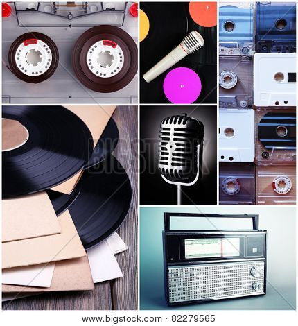 Vinyl records, audio cassettes, microphone and radio set in collage